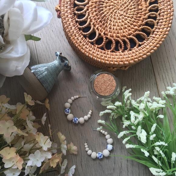 7710bff70 Jewelry   Flower Bomb Floral Print Beads Hoop Earrings   Poshmark